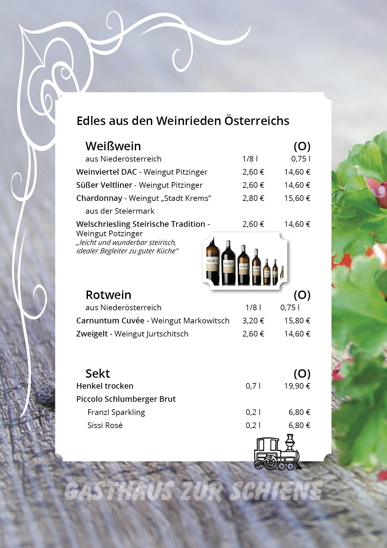 Weinkarte Gasthaus Zur Schiene